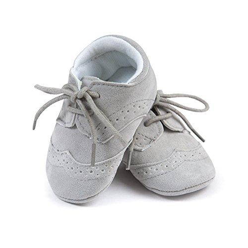 Bequemes Baby First Walking Schuhe Soft Sohle und Anti-Rutsch Lovely Booties mit Frosted Vamp für 0-18 Monate Baby Girls (Grau, M) Grau