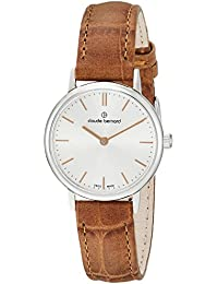 Claude Bernard Women's 'Classic Ladies' Swiss Quartz Stainless Steel and Leather Dress Watch, Color:Brown (Model: 20215 3 AIR)
