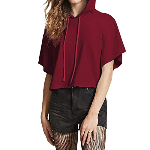 Hoodie-Pullover Liusdh Fashion Simple Style Solid or Letter Print Short Sleeve Hooded Casual Crop Top for Girl(Wine,XL) - Elastic Neck Top