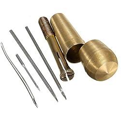 Qincling Nähen Ahle , 4Nadeln Kupfer Griff Nähen Ahle Tool Kit Hand Stitcher Schuh Reparatur-Werkzeuge für Leder Craft Stoff Vorzelt Segel Zelt