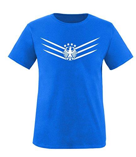 Luckja Deutschland Fanshirt EM 2016 Black/White Edition M 02 Herren Rundhals T-Shirt Royal/Weiss