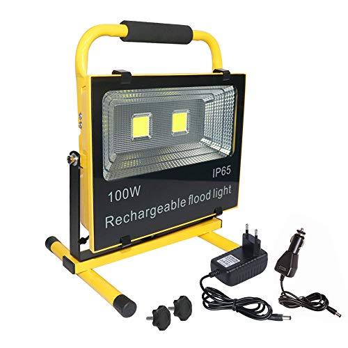 Aufun 100W Warmweiß LED Baustrahler - LED Strahler Akku Arbeitsscheinwerfer - Campinglampe Angeln Beleuchtung Outdoor Laterne Werkstatt Fluter -Gelb Wasserdicht IP65 (150W Warmweiß)