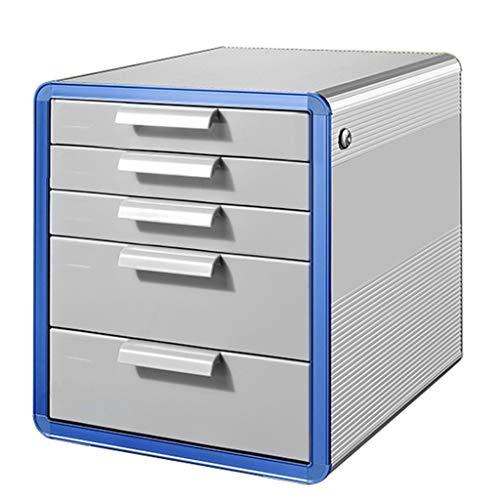 Ordnerregale Aktenschrank Desktop Aktenschrank mit Schloss Aluminiumlegierung-Datenspeicher-Kabinett-Büro-Speicher-Fach-Aktenkasten Silber (Color : Silver, Size : 28.6 * 34.6 * 25.3cm)