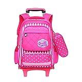 Schulrucksack Mädchen Jungen Teenager - Mode Kinder Trolley Schultasch Nylon Wasserdichte Rollendes Lässig Schule Rucksack Laptop Tasche BESBOMIG