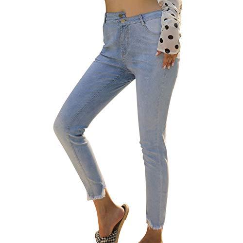 XZDCDJ Jeans Slim Fit Hose Denim Stretch Style Lange Damen High Waist Skinny Hose Frauen beiläufige Denim Hosen Damen lose Hosen(Blau,L) Slim Fit Denim-hose