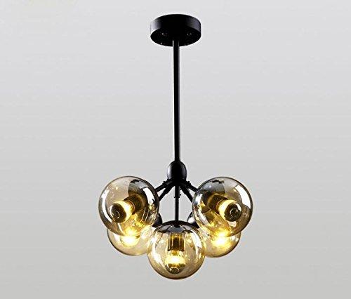 Moderne einfache Pendelleuchte / Design Bubble Ball Anhänger Kronleuchter / Metall Hand geblasenes Glas Pendelleuchten / 5 Kopf Schwarz 30WE27 Deckenleuchte / Pendelleuchte Esszimmer / Pendelleuchte Schlafzimmer / Pendelleuchte