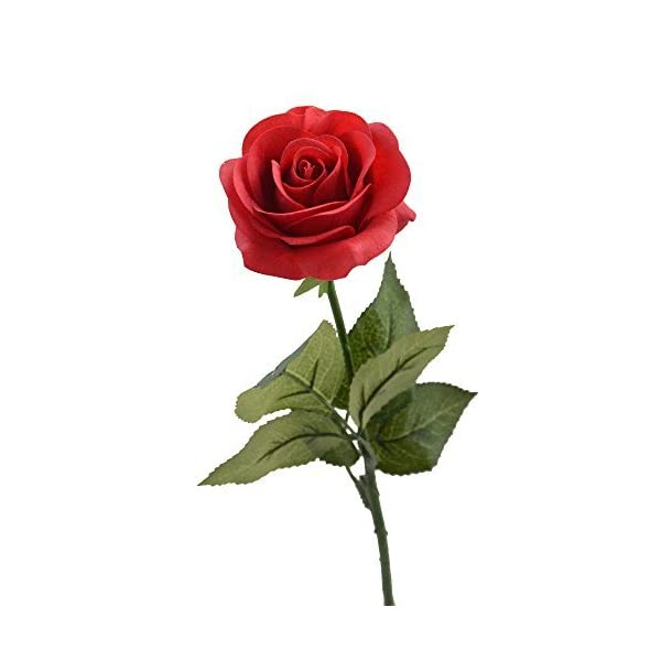 LCCL Seda Rosa 17″Flores Artificiales como Natural – 1, Rojo