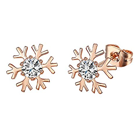 Yoursfs Snowflake Jewellery Present 18ct Rose Gold Plated Women Stud Earrings Austrian Crystal Earrings for Girl