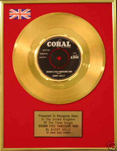 Buddy Holly 17.78 cm Gold Disc-Brown Eyed Schönen Man Gold Holly