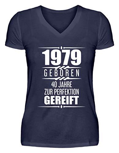 40. Geburtstag Geschenk Lustige Geschenkidee 40 Jahre 1979 Jahrgang Sprüche Ehrentag - V-Neck Damenshirt -XL-Dunkel-Blau