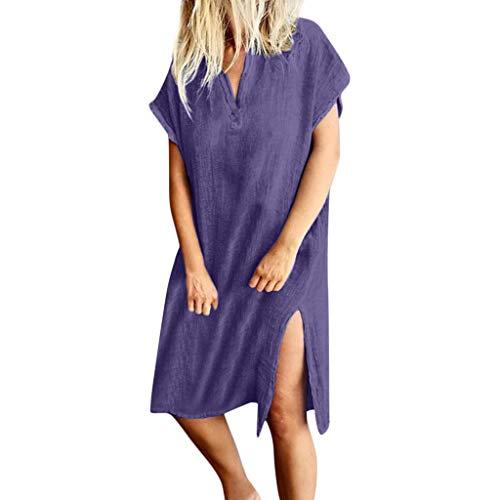 ge Sommerkleid mit V-Ausschnitt Kurzarm Shirtkleid mit Schlitz Einfarbig Ärmelloses Kleid Kurzärmliges Boho Kleider Strand Casual A-Linie Kleid Strandkleid M-3XL ()