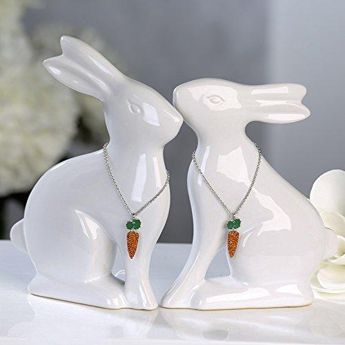 1 x Lapin Hoppel Céramique Blanc M. carottes – Collier Métal/Strass Largeur 31 cm, Pâques, Bunny, Figurine, Figurine animale, Hasenohren oben (links)
