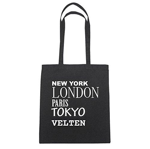 JOllify Velten Borsa di cotone B2207 schwarz: New York, London, Paris, Tokyo schwarz: New York, London, Paris, Tokyo