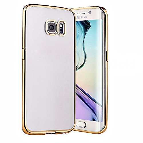 Preisvergleich Produktbild Connect Zone® Samsung Galaxy S7/S7 Edge Weich Ultradünn Gel / TPU Flexible Schale Rückseite Hülle Mit Galvanisiert Überzug Stoßfängers Rahmen Oberschale + Displayschutz Und Polieren Tuch