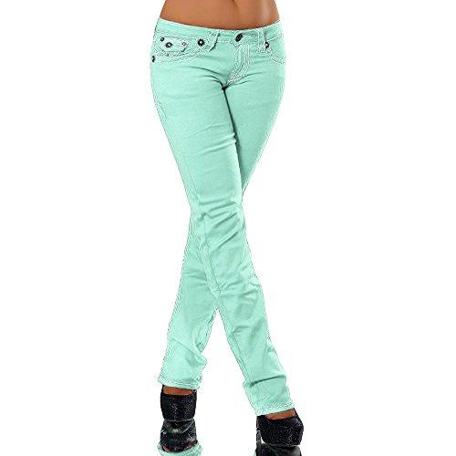H922 Damen Bootcut Jeans Hose Damenjeans Hüftjeans Gerades Bein Dicke Naht Nähte, Farben:Hellgrün;Größen:42 (XL)