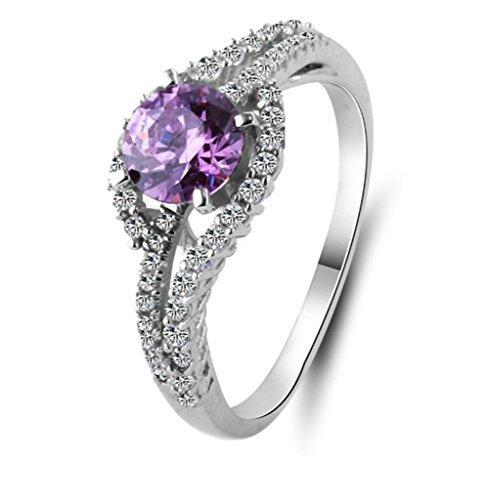 Daesar Silber Ringe Runder Schnitt Zirkonia Ringe Verlobung Ring für Damen Prinzessin Braut Ring Größe:58 (18.5)