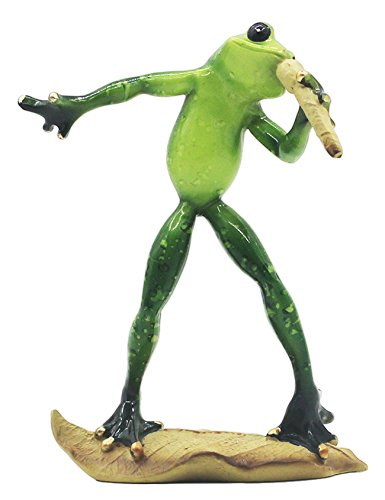 RAIKOU Moralische Integrität Frosch/Yoga Frosch, Schlafzimmer/Wohnzimmer /Fensterbank/Dekoration des Arbeitszimmer,Harz, Grün ,unterschiede Stil-115010 (Musik Frosch 6)
