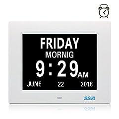 Idea Regalo - Orologio digitale di calendario digitale di SSA con la grande visualizzazione del giorno e della data del tempo libero, appendice della parete o dell'orologio dello scrittorio / scaffale ideale per perdita della perdita di memoria di visione e perdita di memoria.