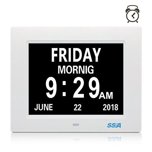Orologio digitale di calendario digitale di ssa con la grande visualizzazione del giorno e della data del tempo libero, appendice della parete o dell'orologio dello scrittorio / scaffale ideale per perdita della perdita di memoria di visione e perdita di memoria.