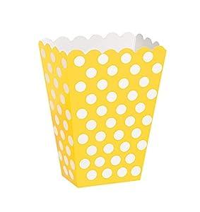 Unique Party- Paquete de 8 cajas para palomitas a lunares, Color amarillo, 59293)