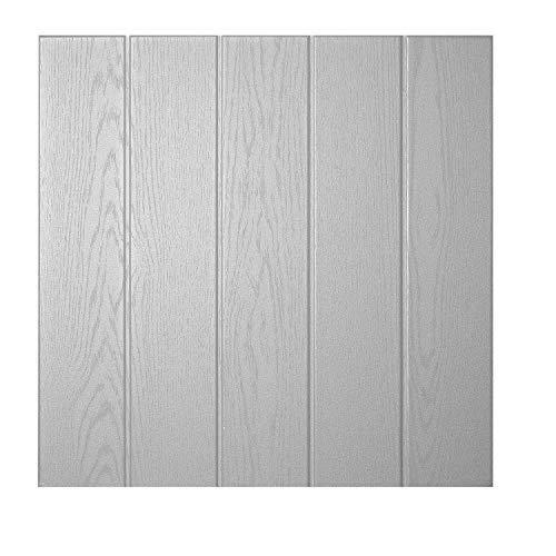 DECOSA Deckenplatten ATHEN in Holz Optik - 16 Platten = 4 m2 - Deckenpaneele in Lichtgrau - Decken Paneele aus Styropor - 50 x 50 cm (16 Deckenplatten)