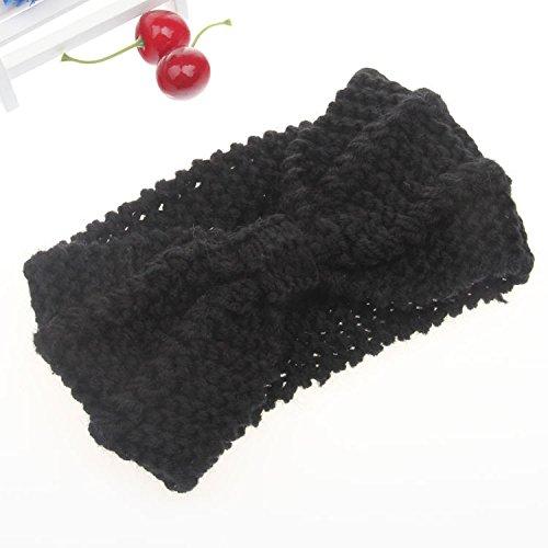 tpocean handgefertigt Schleife Crochet Turban Knit Wolle Haarband Headwrap Ohr Wärmer Haarband für Frauen Mädchen