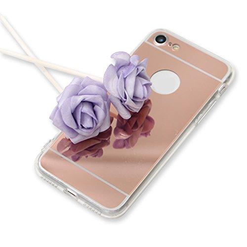 Für iPhone 6S Plus Hülle,Für iPhone 6 Plus Spiegel Hülle Mirror Case,Funyye Luxuriös TPU Handyhülle Gold Plating Silikon Schutzhülle Luxus Glänzend Glitzer Kristall Strass Rahmen Weich TPU Handy Tasch Spiegel,Rose Gold