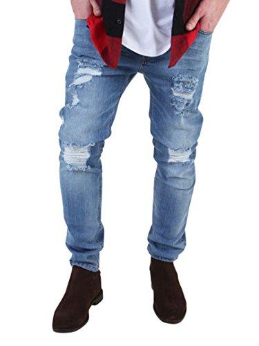 Sik Silk Herren Vintage-Slim Fit Jeans, Blau Blau