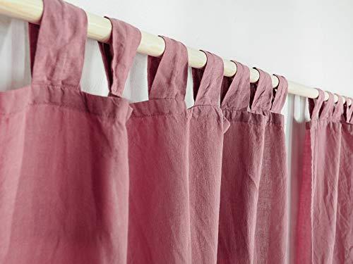 staubiges Rosa Schlaufenvorhang aus Leinen. Leinen Vorhang. Leinenvorhänge/Leinengardinen