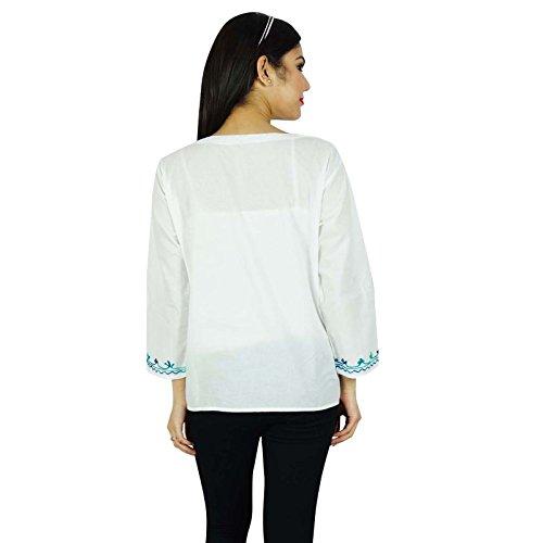 Eté Femmes Boho Top Tunique Casual Sundress Blanc et bleu