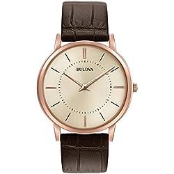 Bulova 97A126 - Reloj de Pulsera de Diseño para Hombre - Ultrafino - Correa de Cuero - Color Oro Rosa y Marrón
