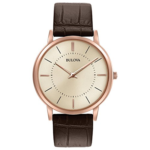 Bulova Men's Designer Watch Leather Strap - Brown Rose Gold Ultra Slim Wrist Watch 97A126