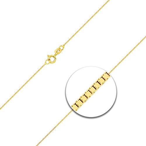 Collier Or Chaîne, veineuse bicolore en or jaune 585/14carats, Largeur 0,6mm avec anneau ressort, la longueur est au choix.