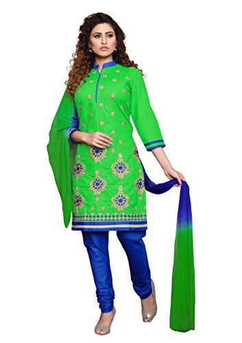 Oomph! Women's Cotton Unstitched Embroidered Salwar Suit Dupatta Dress Material, Shamrock Green