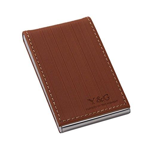 YDC05 Bester Visitenkarte-Halter-Leder-Karten-Kasten Ausgezeichneter Designer durch Y&G YDC0622-Schokolade, Tan