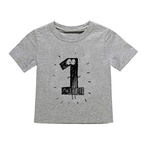 JUTOO Neugeborenes Baby scherzt Jungen-Mädchen-Nette Zahl-Karikatur-Kurzarm-T-Shirt übersteigt Kleidung (Grau ()