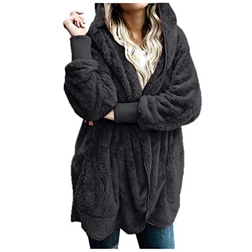 Lazzboy Jacken Damen Frauen Winter Warme Manteljacke Parka Outwear Strickjacke Mantel Oberteile Lang Sweatjacke Pullover Sweatshirt Langarm Winterjacke Warm Artificial(Dunkelgrau,5XL) -