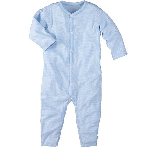 wellyou, Schlafanzug, Pyjama für Jungen und Mädchen, Einteiler langarm, Baby Kinder, hell-blau weiß gestreift, geringelt, Feinripp 100% Baumwolle, Größe 92-98 (Overalls Baumwolle Gestreiften)