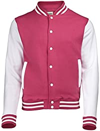 VARSITY COLLEGE JACKET ( SMALL - Hot Pink / White ) NEW PREMIUM Unisex American Style Letterman Blank Baseball Custom Top Mens Womens Ladies Gift Present Quality AWD Soulstar Omega Bomber - By 123t