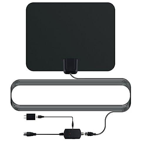Antenne HDTV | Antenne de télévision numérique numérique numérique 1080P HD - Gamme de 50 milles avec amplificateur détachable Amplificateur de signal, alimentation USB et câble coaxial haute performance