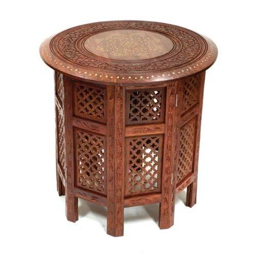 Stylla London Superbe Round Table d'appoint Sheesham avec Incrustation en Laiton, Bois, Marron, 24.02 x 18.11 x 18.11 cm