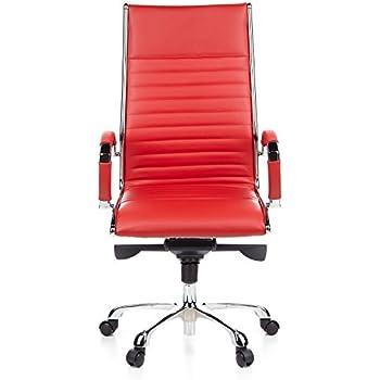 Bürostuhl designklassiker  hjh OFFICE 660530 Bürostuhl Chefsessel PARMA 20 Leder rot ...