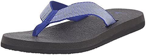 Sanuk Women's Yoga Mat Webbing Deep Blue and Off White Sandals 7 UK