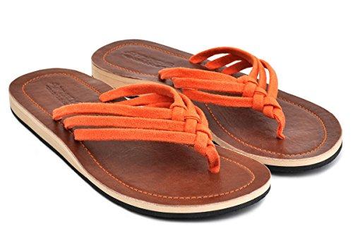Amboss Damen Sandale mit Echt Leder Gr.36-43 Farbe: gelb, orange, pink, schwarz Orange