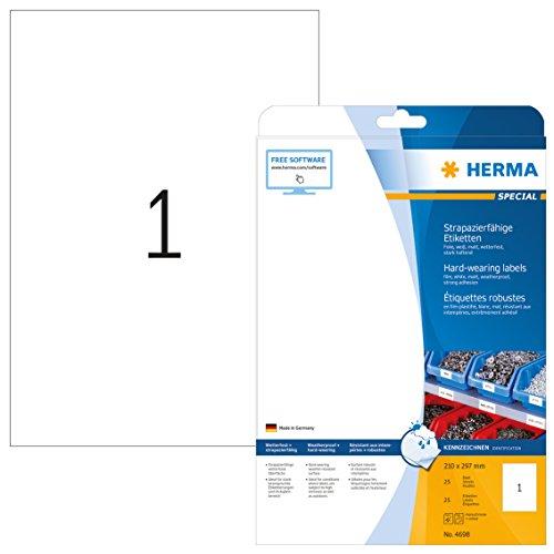 Herma 4698 Wetterfeste Folien-Etiketten (Format DIN A4 210 x 297 mm) weiß, 25 Aufkleber, 25 Blatt Klebefolie matt, bedruckbar, selbstklebend (Folie-etiketten)