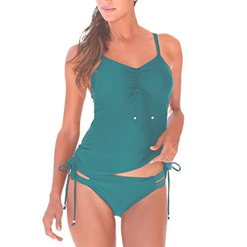 ba2a7f22c580 Mujer Tankinis Deportivos de Dos Piezas Bikini Traje de baño Ropa de Playa  Push up Halter Tankini Tallas Grandes bañador Azul L