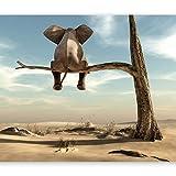 murando - Fototapete 200x140 cm - Vlies Tapete - Moderne Wanddeko - Design Tapete - Wandtapete - Wand Dekoration - Elefant Baum Wüste Tier Abstrakt Natur Himmel für Kinder g-B-0033-a-a