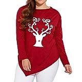 TIFIY Damen Weihnachten HirschElk Print Bluse Asymmetrische Bluse Skew Neck Tops Casual Plus Size Längen Hemd(Rot 1,EU-44/CN-XL