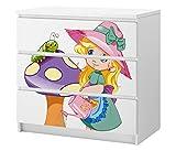 Set Möbelaufkleber für Ikea Kommode MALM 3 Fächer/Schubladen Kinderzimmer Pilz Mädchen Prinzessin Raupe Kat2 rosa ML3 Aufkleber Möbelfolie sticker (Ohne Möbel) Folie 25C2685