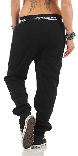 Boxusa Damen Jogginghose Thepower Design Fitnesshose Freizeithose Sporthose Schwarz